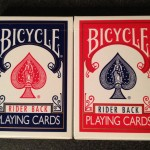 The classic red and blue Bicycle brand playing cards